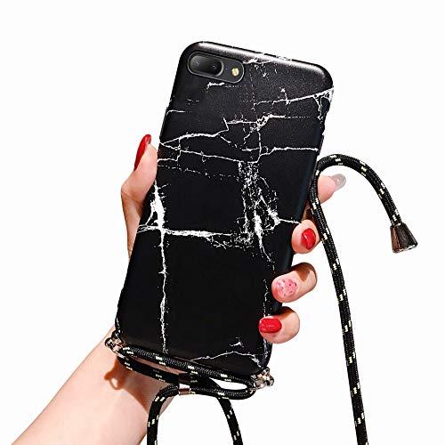 Suhctup Compatible pour iPhone 7/8/iPhone Se 2020 Coque Silicone avec Cordon de Collier Réglable Lanière Marbre Motif Étui Ultra Mince Souple TPU Housse Anti-Chocs Protection Cover-Marbre 6