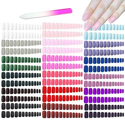 editTime 18sets/432pcs Solid Colors Matte Acrylic Ballerina Coffin False Nails Full Cover Press on Natural Medium Fake Nails Tips with a Crystal Glass Nail File (Square Fake Nails)