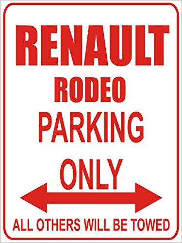 INDIGOS - Parkplatz - Parking Only- Weiß-Rot - 32x24 cm - Alu Dibond - Parking Only - Parkplatzschild - Renault Rodeo