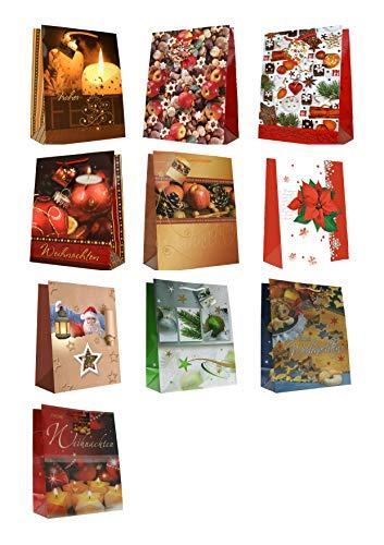 30 Geschenktüten Weihnachten Weihnachtskugeln Kerzen Äpfel Plätzchen Large L 32 x 26 x 13 cm Weihnachtstüten Geschenktaschen Papier-Tragetaschen 22-2311