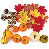 Juego de decoración de Acción de Gracias, 50 hojas de arce artificial, calabaza de...