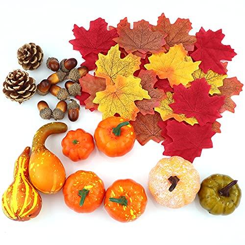 Juego de decoración de Acción de Gracias, 50 hojas de arce artificial, calabaza de cosecha, bellotas, conos de pino y calabazas para otoño, otoño y Halloween, decoración de fiesta en el hogar