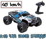 blijr Speedr Blau ferngesteuertes RC Auto 45 km/h, 1:18, 2 Akkus, 4x4 Allrad, 100m Reichweite, Monstertruck RTR Buggy