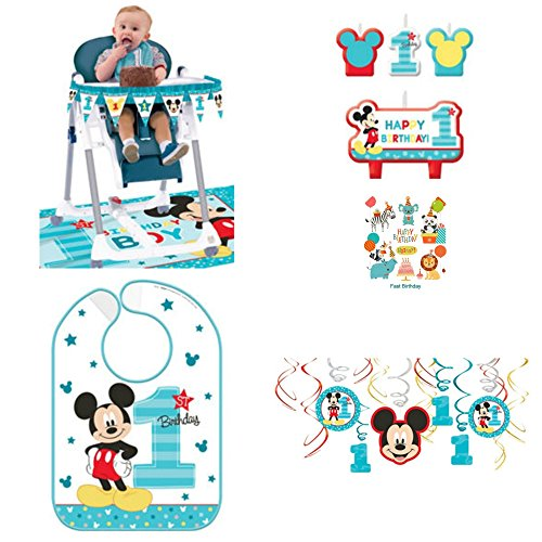 1st Birthday Mickey Mouse Birthday Party Decorations Supply Pack Includes Hanging Decorations, High Chair Decorations, Bib, and Candle Set Party Supplies Mickey Fun to be One!