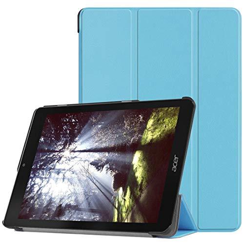 Luqin Schutzhülle für Acer Chromebook Tab 10, mit dreifach faltbarer Halterung, horizontal, Schwarz