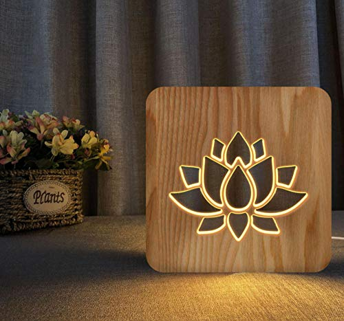 3D night light solid wood carving hollow creative craft LED table lamp(lotus)