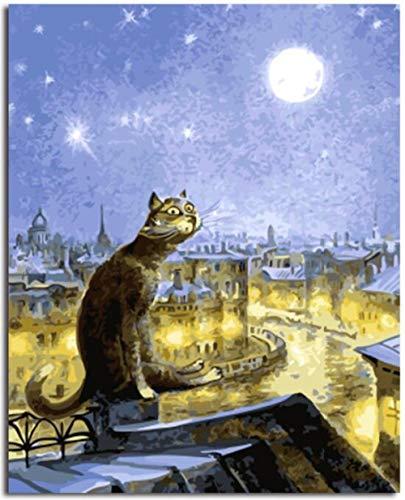 Pintar por Numeros para Adultos Niños Garfield a la luz de la Luna DIY Pintura al óleo con Pinceles y Pinturas Decoraciones para el Hogar (40x50 cm, Sin Marco)