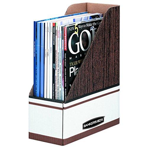 Bankers Box 07223 Corrugated Cardboard Magazine File, 4 x 9 x 11 1/2, Wood Grain (Case of 12)
