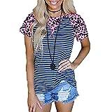 Top Donna A Maniche Corte Donna Moda Estiva A Righe Leopardate Splicing Contrasto di Colore Girocollo Top Sciolto Comodo Casual Donna T-Shirt Donna Shirt A-Blue L