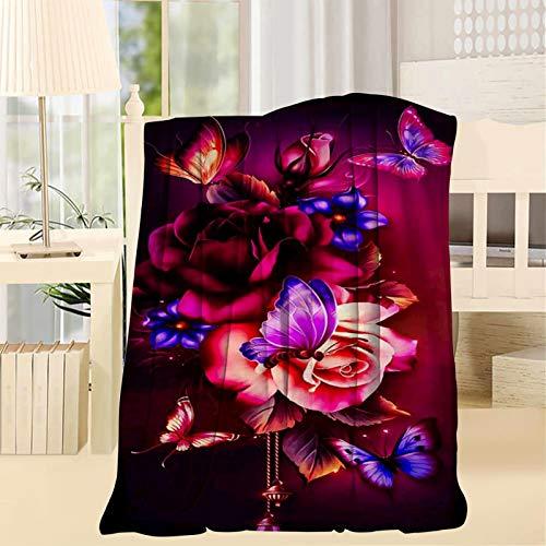 2183 Manta de lana con diseño de libélula, multifuncional, divertida, para casa, manta suave en la cama o sofá, manta de 50 x 60 pulgadas
