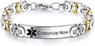Personalized Custom Stainless Steel Medical Alert Allergy Awareness Byzantine Bracelet for Women Men Disease Identification ID Bangle Emergency Life Save for Mom,Dad,Son,Daughter,Free Engrave