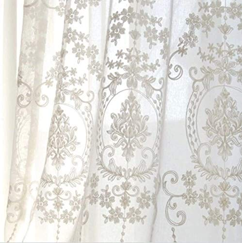 Fly scherm deur Europese borduurwerk gordijn, White Lace Sheer gordijnen for woonkamer slaapkamer balkon erker Invisible zand gordijn (Color : White, Size : 300x250cm(118x98inch))