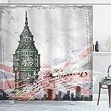 ABAKUHAUS London Duschvorhang, Weinlese Big Ben London, mit 12 Ringe Set Wasserdicht Stielvoll Modern Farbfest & Schimmel Resistent, 175x200 cm, Grau