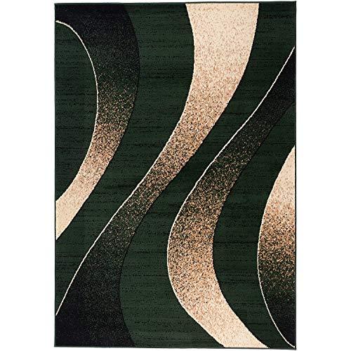 Alfombra Salon Grande Pelo Corto - Moderno Diseño Geométrico - Alfombra Cocina Habitación Dormitorio Comedor Verde 300 x 400 cm