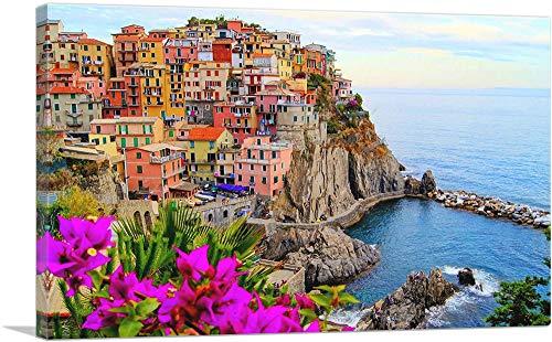 """ARTCANVAS Village of Vernazza Cinque Terre Italy Canvas Art Print - 26"""" x 18"""" (0.75"""" Deep)"""