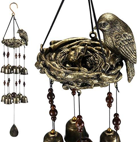 Hoosam Bird Nest Wind Chimes Bronze Bells Chime with 12 Wind Bells for Mother's Love Gift Garden Backyard Church Outside and Indoor Hanging Decoration