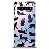 Cavka TPU Cover for Samsung Galaxy Case S20 Note 10 Plus 5G S10e S9 S8 S7 Lightweight Pattern Cats Black Gift Cute Galaxy Design Print Joyful Funny Pets Flexible Silicone Slim fit Clear Soft Animals