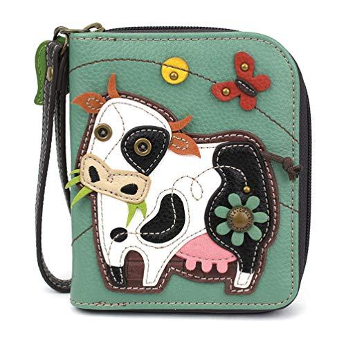 CHALA Zip-Around Wallet - Cow-Teal