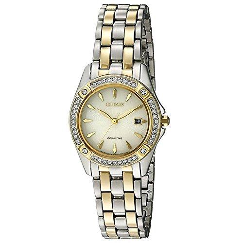 Citizen Silhouette Crystal, orologio da donna ad energia solare con display analogico color oro e cinturino in acciaio inox color argento Ew2354–53P.