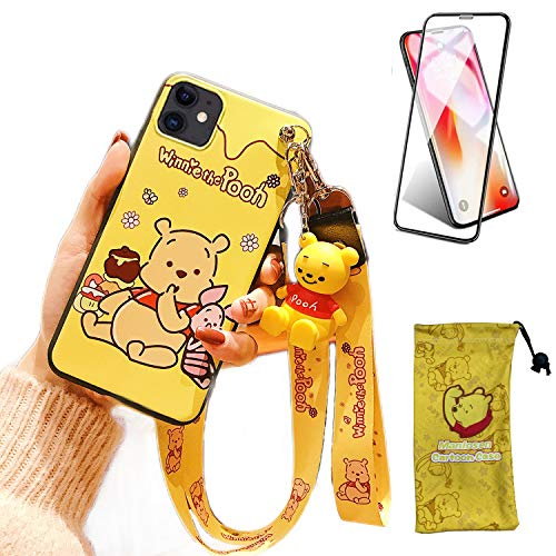iPhone 11 Case with HD Screen Protector, Cute Cartoon 3D Animal Character Winnie Lanyard Silicone Protective Apple iPhone Case 6.1 Inch Kawaii Cover Case for Kids Girls