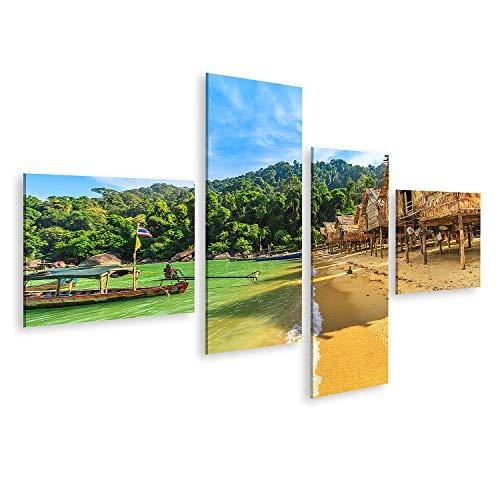Cuadro en Lienzo Aldea Moken Isla de Surin Casas Tradicionales de Botes de Cola Larga Tribu Mar Gitanos Islas de Aguas Tropicales Andaman Phang Cuadros Colores Muy llamativa
