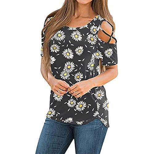 Verano Camiseta Mujer Blusa con Manga Corta de Cuello Redondo Suelto, Elegantes T-Shirts Top Ropa de Color Sólido Sexy Moda Blusas y Camisas para Mujer Túnica con Estampado de Girasol Flores