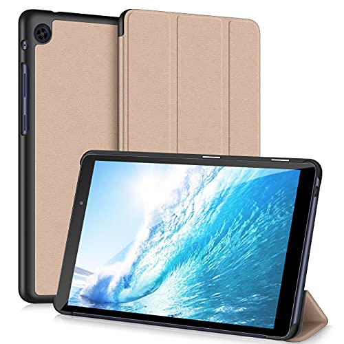 VAGHVEO For Huawei MatePad T8 タブレットケース、 8.0 インチ新型保護カバー、全面保護 三つ折り スタンド機能 耐衝撃 薄型 軽量 PUレザー 傷つけ防止-ゴールド