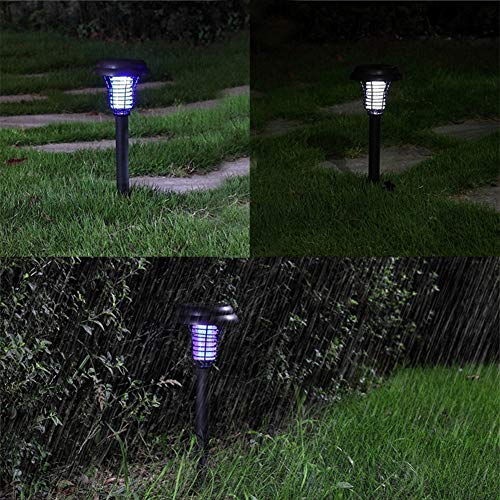 Solar-Powered Insect Killer LED Lamp Outdoor Light,Dual Function Solar Garden Lights Mosquito Pest Bug Zapper UV Light Lamp for Garden, Yard, Pond Side