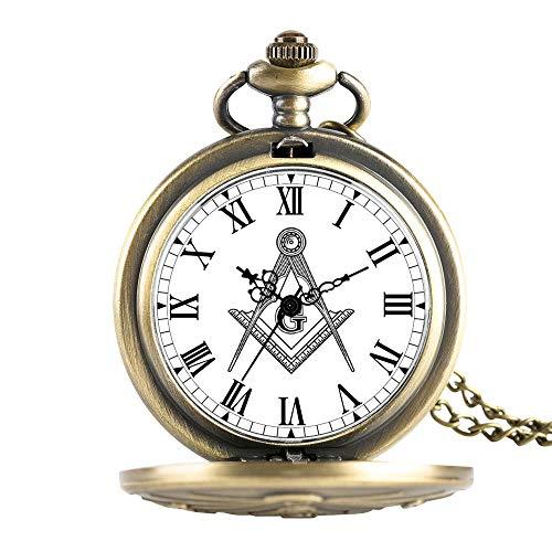 HMANE Antiguo masón Cromado Cuadrado y brújula masón Collar masónico Colgante Reloj de Bolsillo de Cuarzo Regalos para masón