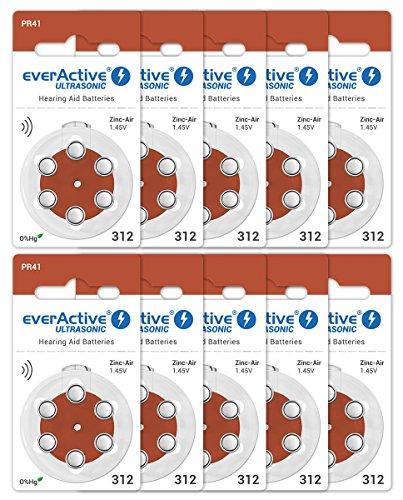 EverActive 312 - Pilas para audífonos (60 Unidades, Alto Rendimiento, 10 blísteres, 4 años de duración), Color marrón