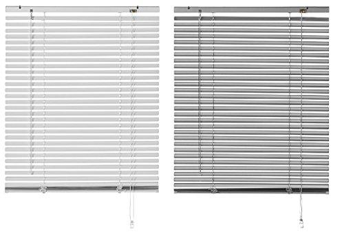 Jalousie Aluminium, Silber oder grau, viele Grössen, 25 mm Lamellen, Alu Jalousie (80 x 130 cm (BxH), Silber)