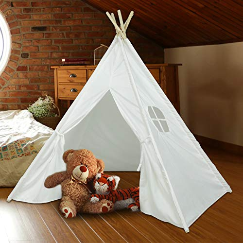 Ogrmar Kids Teepee Play Tent Foldable White Canvas Kids Playhouse Portable Kids Tent for Girls and Boys to Play Indoor and Outdoor