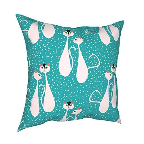 Funda de almohada de decoración de 45 x 45 cm de mediados de siglo arte moderno gato para decoración del hogar, oficina, sofá, vacaciones, bar, café, boda, coche, 45 x 45 cm