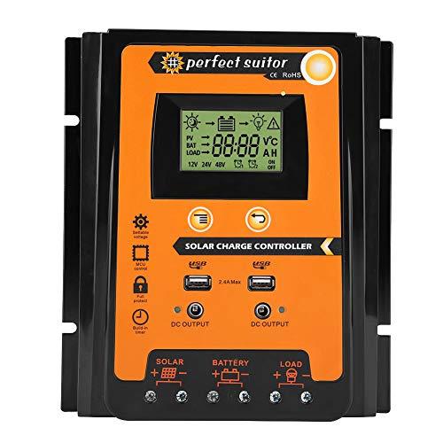 Controlador de cargador solar MPPT, Panel Solar Regulador de Batería Pantalla LCD con doble puerto USB Pantalla 12V / 24V Protección segura (70A)
