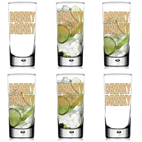 Drinky Drinky Verre et cadeau Ensemble de tube, avec Doré métallique Drinky Drinky Impression, verre, transparent, Drinky Drinky Highball Glass