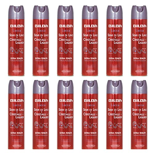 12 Pièces Laque pour Cheveux Extra tenue Bilba Graines de Lin et cristaux liquides offre Lot Stock