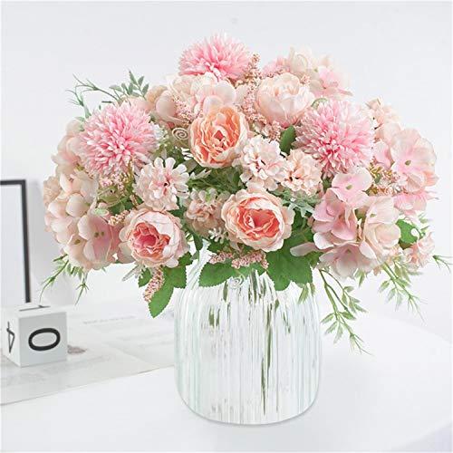 Homcomodar Künstliche Blume Seidenblume Pfingstrose Gefälschten Hortensien Nelken Blumen 2er Pack für Hochzeit Brautstrauß Party Dekoration