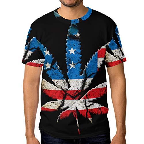 Ahomy Camiseta de manga corta con cuello redondo y hojas de marihuana