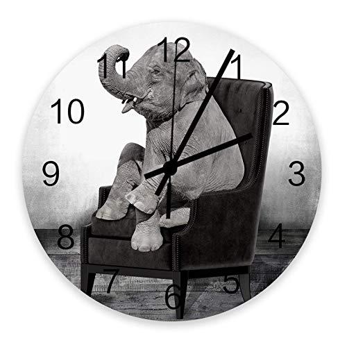 Reloj de pared redondo silencioso sin tictac de 10 pulgadas, estilo blanco y negro de alta gama, elefante en silla, reloj de pared de madera, números romanos, reloj de manos, decoración del hogar para