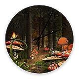 Reloj de pared silencioso que no hace tictac Bosque de ensueño con setas rojas y árboles Funciona con pilas, decoración de la pared del hogar para la sala de estar, cocina, dormitorio y patio de 10 pu