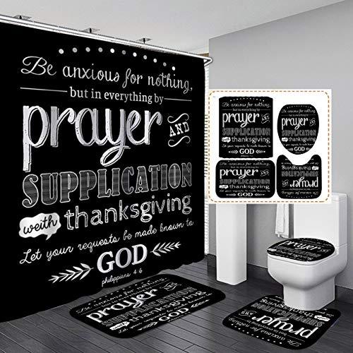 Fashion_Man 4PCS/Set Black Scripture Shower Curtain, God Blessing Proverb Quote Bathroom Sets, Waterproof Cloth Fabric Bath Curtain, Non-Slip Bathroom Mat Bath Mat Toilet Rug, Prayer & Supplication
