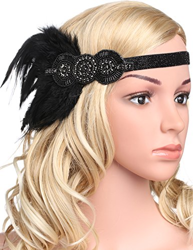 BABEYOND 1920s Flapper Headpiece Roaring 20s Great Gatsby Headband Vintage Feather Headband 1920s Flapper Gatsby Hair Accessories for Party (Black)