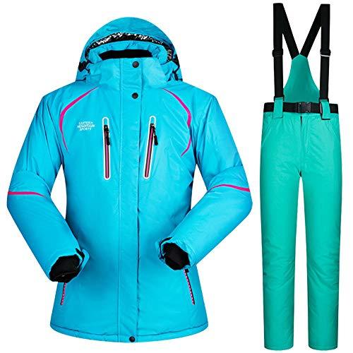 HXSKI Damespak Skijas & Broek, Waterdicht Winddicht Snowboard Professionele Ski-uitrusting Warm Ademend Winterjas