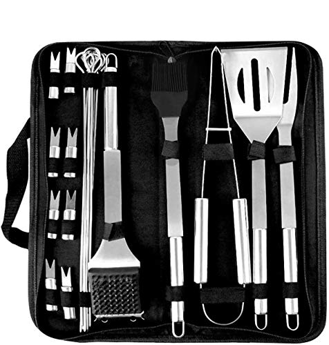 Coocnh 20pc Heavy Duty BBQ Grill Tool Set in Case - The Very Best Grill Gift on Birthday Wedding - Professional BBQ Accessories Set for Outdoor Cooking Camping Grilling Smoking