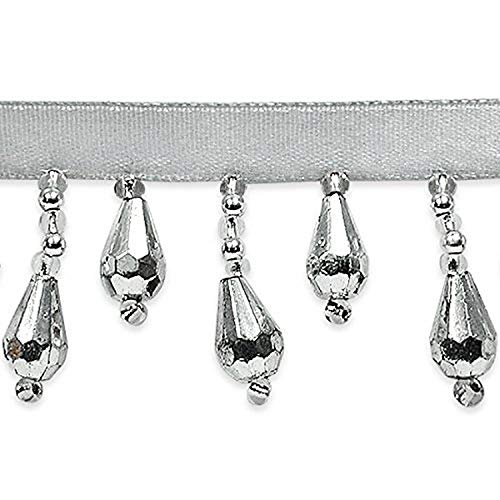 Expo International Joanne Beaded Teardrop Fringe Trim Embellishment, 10-Yard, Silver