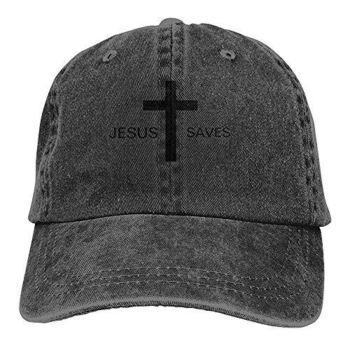 Egoa verrekijker hoed unisexjesus redt wijnoogst-chic-denim verstelbaar verrekijker hoed baseballmuts-grijs