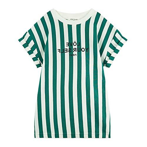 Gyratedream Zomer Casual Fashion Baby Meisjes Gestreepte print shirt met korte mouwen kinderkleding 3-8 jaar kinderen blousejurk Small groen