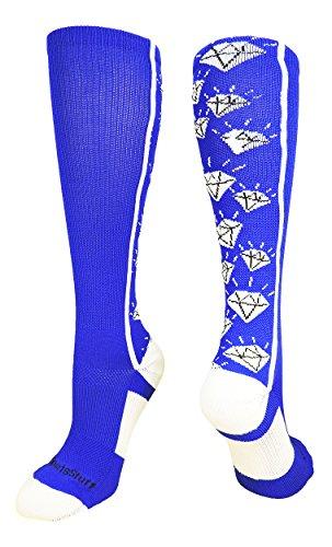MadSportsStuff Crazy Socken mit Diamanten über der Wade (mehrere Farben), Mädchen, Royal/Weiß, Large