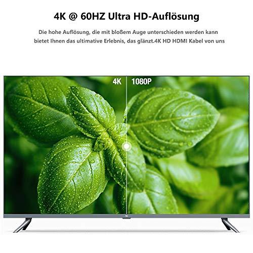 4K@60HZ HDMI Kabel 2Meter, Snowkids Highspeed 4K HDMI 2.0 Flach Kabel 18Gbps HDCP 2.2 Nylon Geflochten Kompatibel mit, UHD 2160p,HD 1080p, 3D, ARC, LG, PS3/PS4-Grau