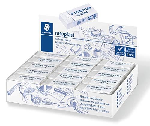 Staedtler 526 ftalatos rasoplast B45 borrador y libre de látex, 43 x 19 x 9 mm, caja de 45 piezas, blanco